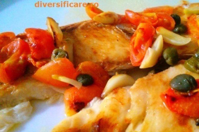 pește la cuptor cu capere