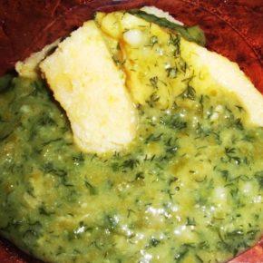 Ciulama de lobodă verde şi lapte de soia (de la 1 an)